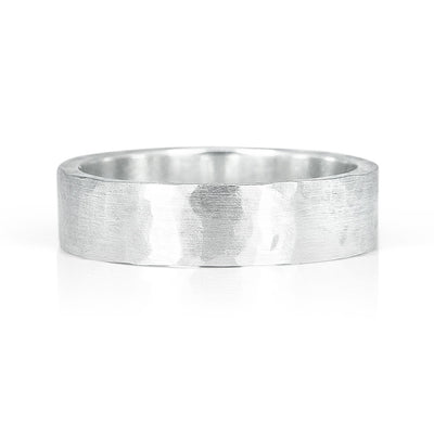 Light Hammered Ethical Gold Wedding Ring, Wide, Matte Finish