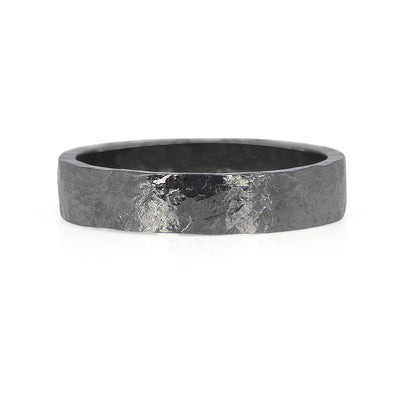 Heavy Hammered Ethical Gold Wedding Ring, Black Rhodium