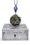 Bespoke James amulet pendant - 18ct white gold and fair-traded sapphire, ruby and emerald 5