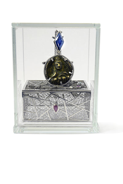 Bespoke James amulet pendant - 18ct white gold and fair-traded sapphire, ruby and emerald 4