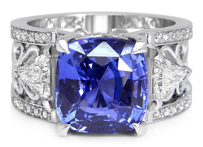 Bespoke Damir engagement ring - 100% recycled platinum, 7ct sapphire, conflict-free diamonds and filigree  4