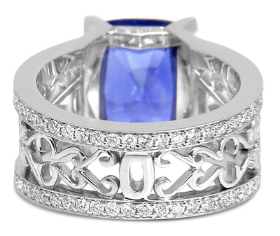 Bespoke Damir engagement ring - 100% recycled platinum, 7ct sapphire, conflict-free diamonds and filigree 5
