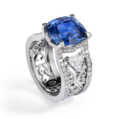 Bespoke Damir engagement ring - 100% recycled platinum, 7ct sapphire, conflict-free diamonds and filigree