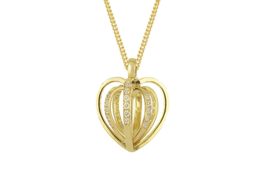 Diamond Sequin Heart Pendant. 18ct Yellow Gold