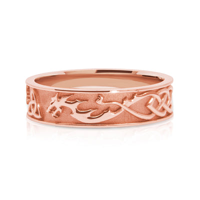 Bespoke Wedding Ring - Fairtrade rose gold with lion, dragon and Celtic Trinity Knot engraving 2