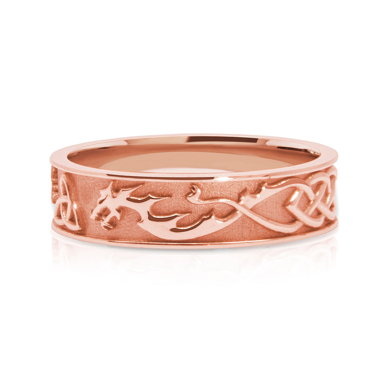Bespoke Wedding Ring - Fairtrade rose gold with lion, dragon and Celtic Trinity Knot engraving