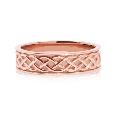 Bespoke Wedding Ring - Fairtrade rose gold with lion, dragon and Celtic Trinity Knot engraving 3