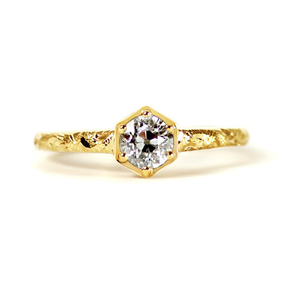 Bespoke Ed engagement ring - Fairtrade yellow gold, Canadian diamond and scroll engraving 2