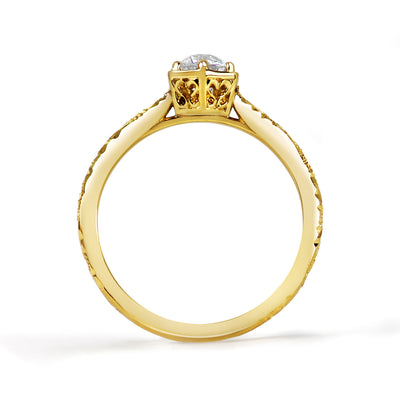 Bespoke Ed engagement ring - Fairtrade yellow gold, Canadian diamond and scroll engraving