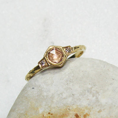 Bespoke Hexagon Rose Cut Pink Sapphire Engagement Ring - ethical and unique 5