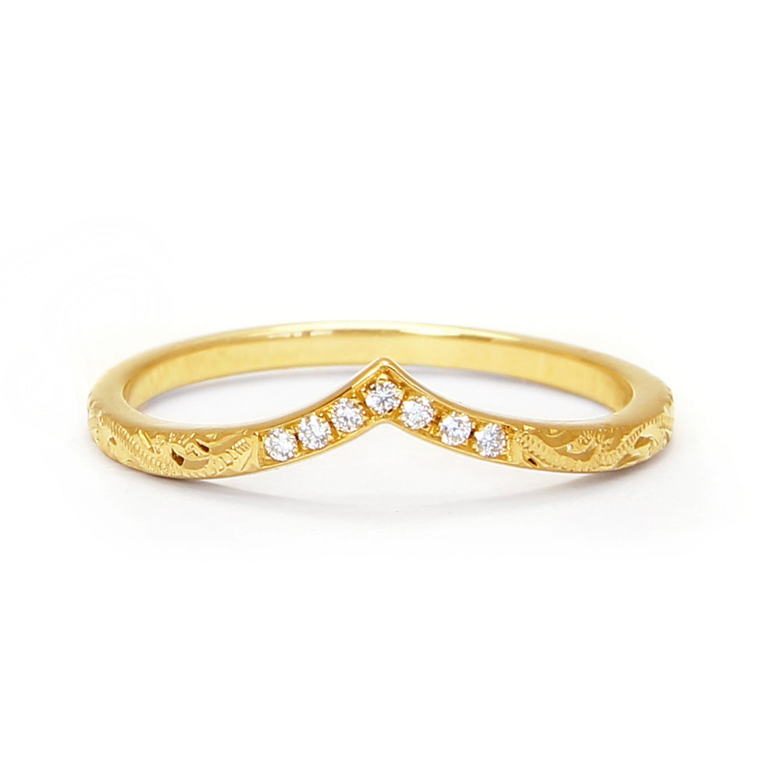Wishbone Diamond Crown Ethical Ring, 18ct recycled gold and hand-engraved scrolls