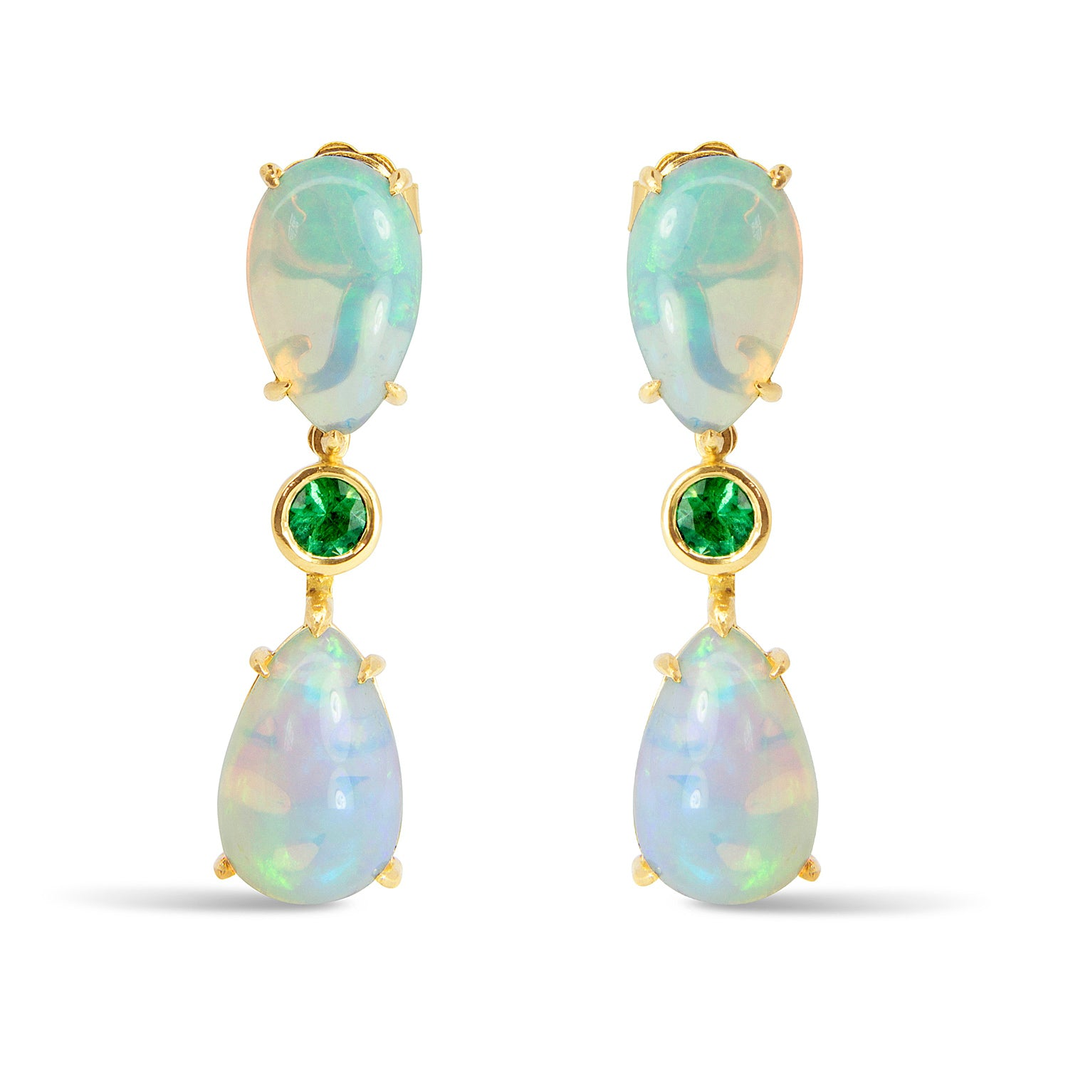Bespoke Estelle drop earrings - Fairmined Ecological Gold, fair-traded opals and emeralds
