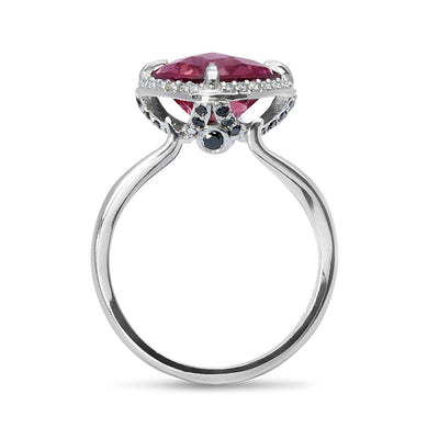 Bespoke Estelle cocktail ring - 18ct white Fairtrade Gold, client's own ethically-sourced pink sapphire and conflict-free diamonds 2
