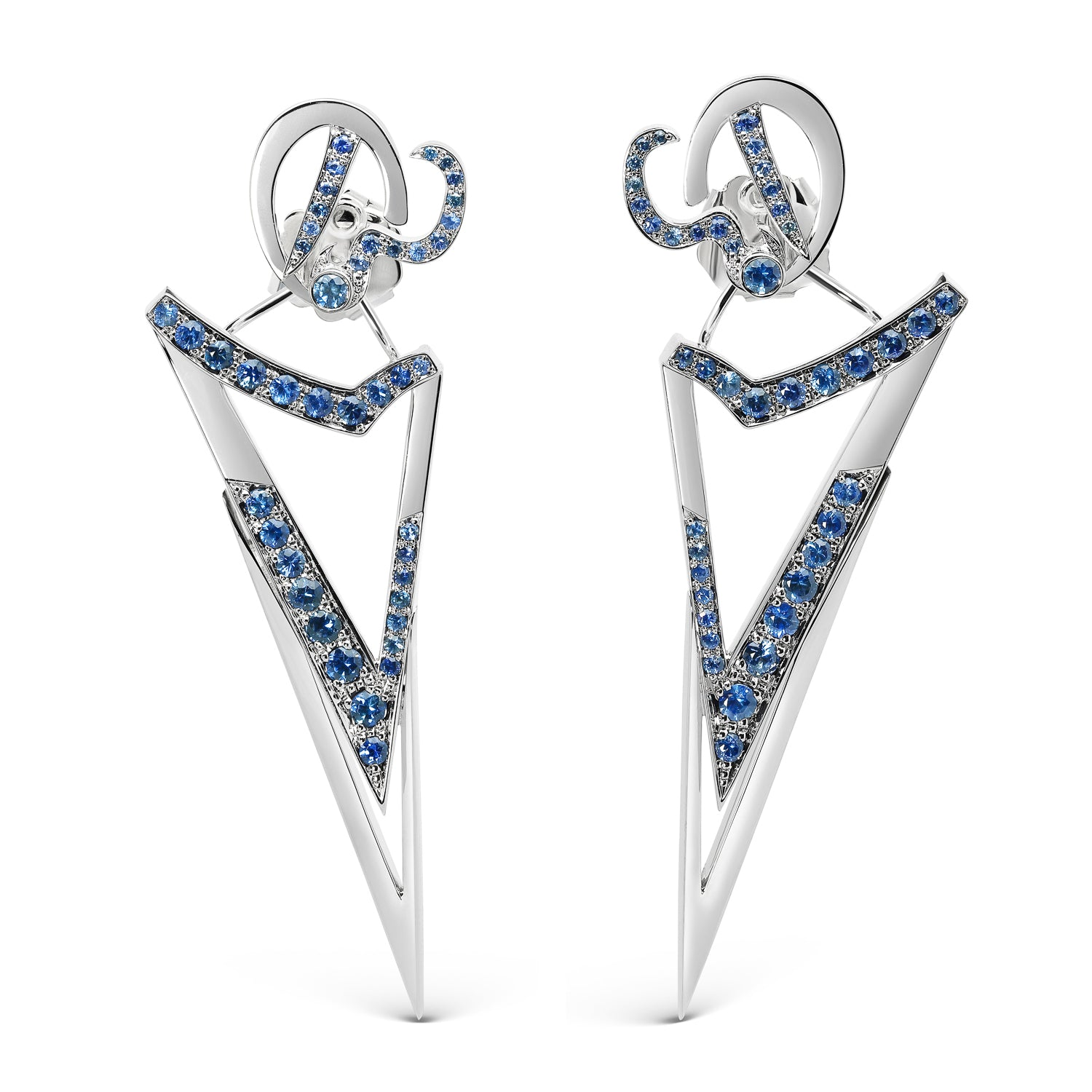 Bespoke Arrow Sapphire Earrings - 18ct white gold, ethical blue sapphires and dismountable structure