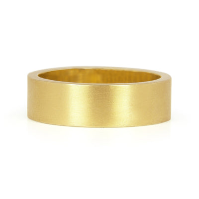 Matte Ethical Gold Wedding Ring, Wide/Flat