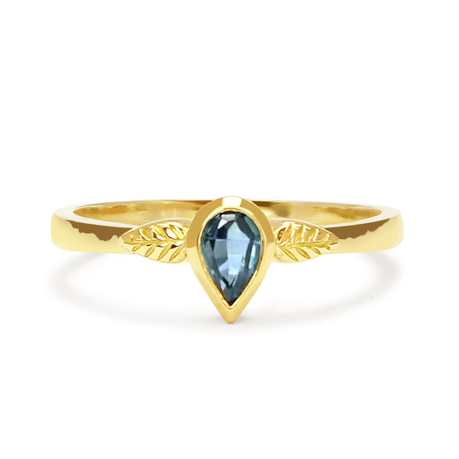 Bespoke nature-inspired engagement ring with pear-cut Malawi sapphire and 18ct recycled gold band