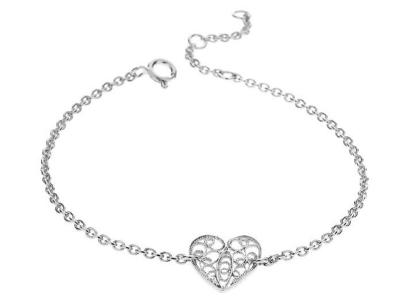 Filigree Friendship Heart Bracelet. White