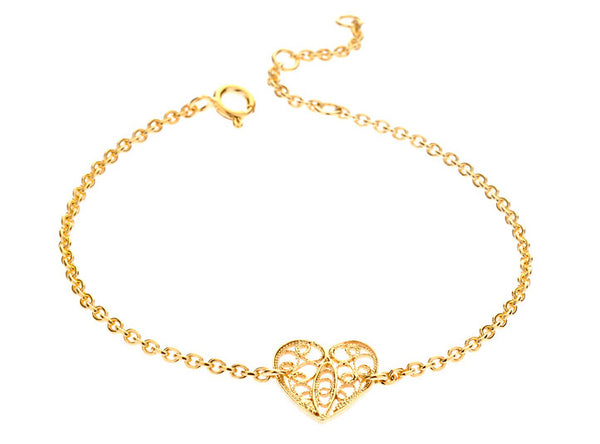 Filigree Friendship Heart Bracelet. Yellow Gold - Arabel Lebrusan