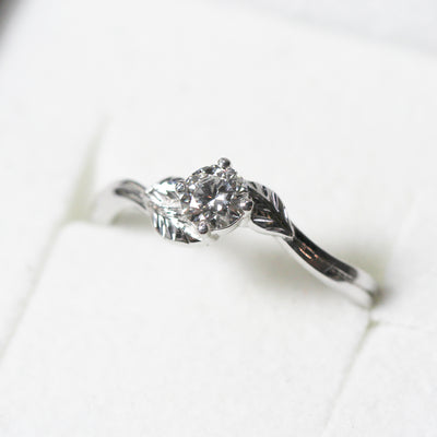 Bespoke Nature-Inspired Engagement Ring, 18ct recycled white gold and lab-grown diamond 4
