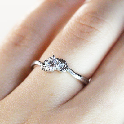 Bespoke Nature-Inspired Engagement Ring, 18ct recycled white gold and lab-grown diamond 5