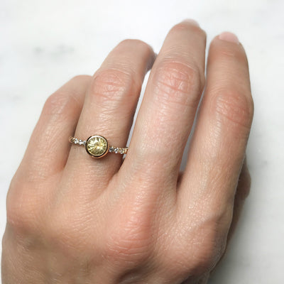 Large Hebe Yellow Sapphire Engagement Ring, Ethical Gold - unique and sustainable