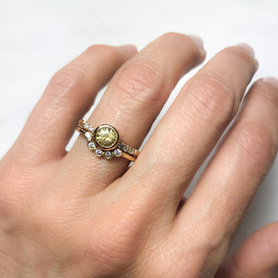 Large Hebe Yellow Sapphire Engagement Ring, Ethical Gold - alternative bridal jewels