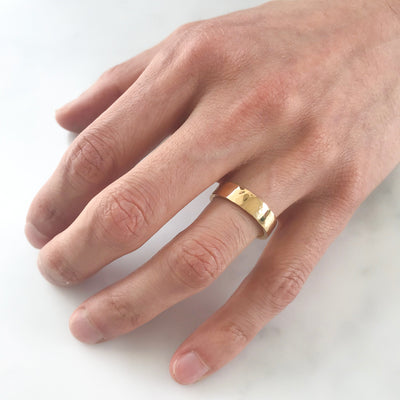 Flat Court Soft Hammered Ethical Gold Wedding Ring, Wide Polished 2