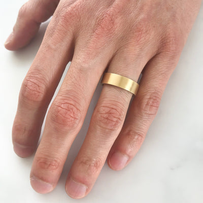 Matte Ethical Gold Wedding Ring, Wide/Flat 2