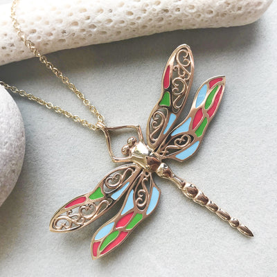 Bespoke Dragonfly Pendant - 9ct recycled yellow gold and coloured enamel 3