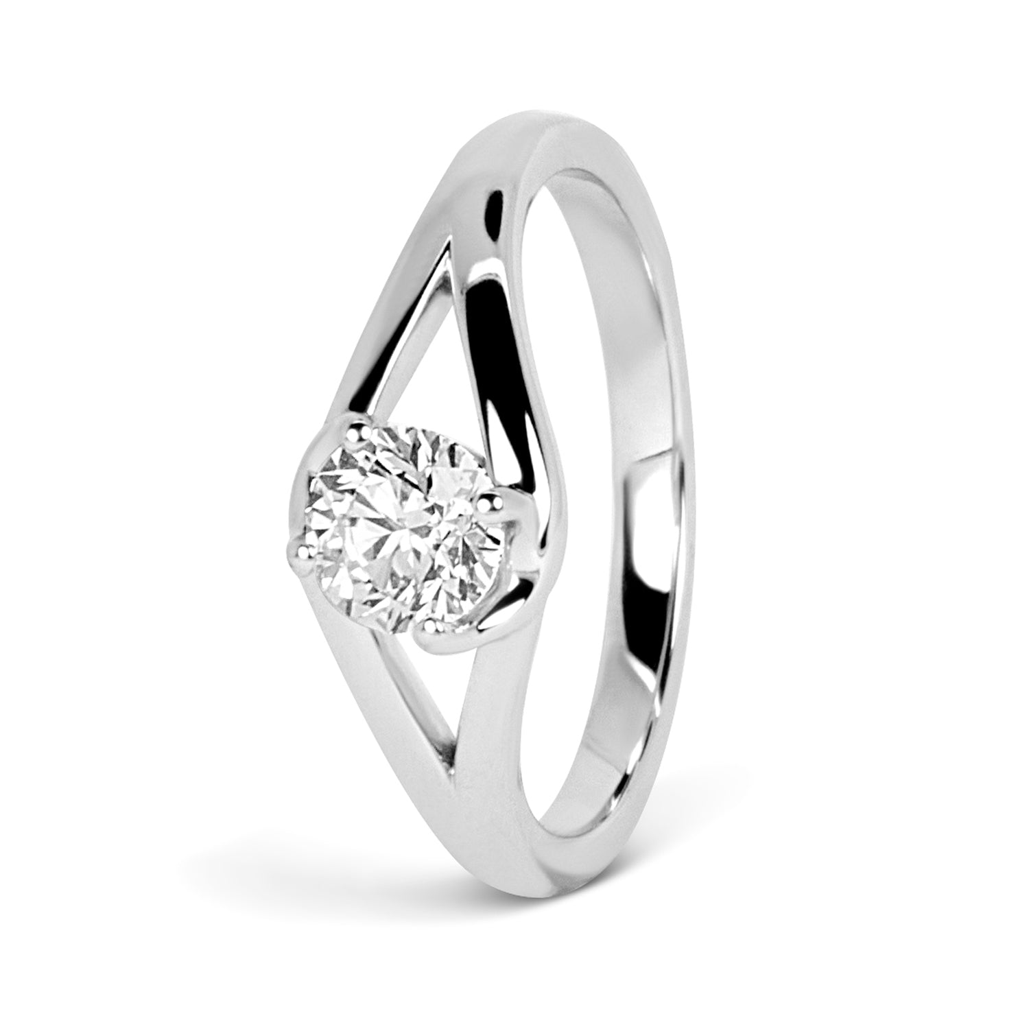 Bespoke Andy engagement ring - white Fairtrade Gold and 0.5ct Canadian diamond