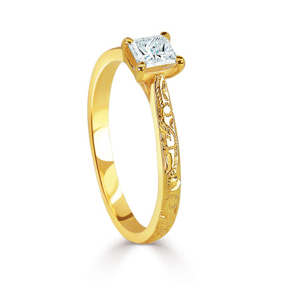 Bespoke engagement ring with hand-engraved Fairtrade Gold band and a princess-cut Canadian diamond