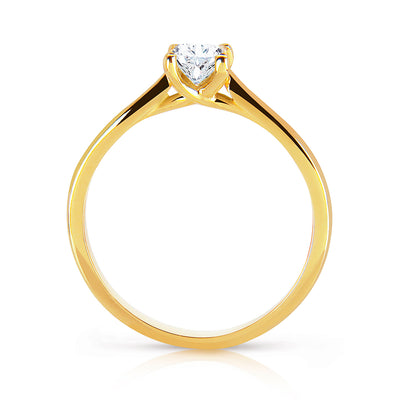 Bespoke engagement ring with hand-engraved Fairtrade Gold band and a princess-cut Canadian diamond 2