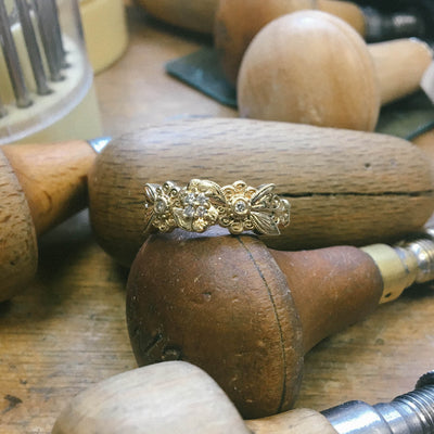 Bespoke Lace Engagement Ring, Recycled Yellow Gold and Ethical Diamonds 3