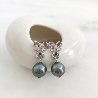 Bespoke drop earrings with ethical black pearls