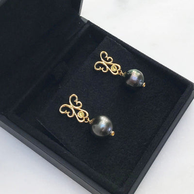 Bespoke drop earrings with black Tahitian pearls
