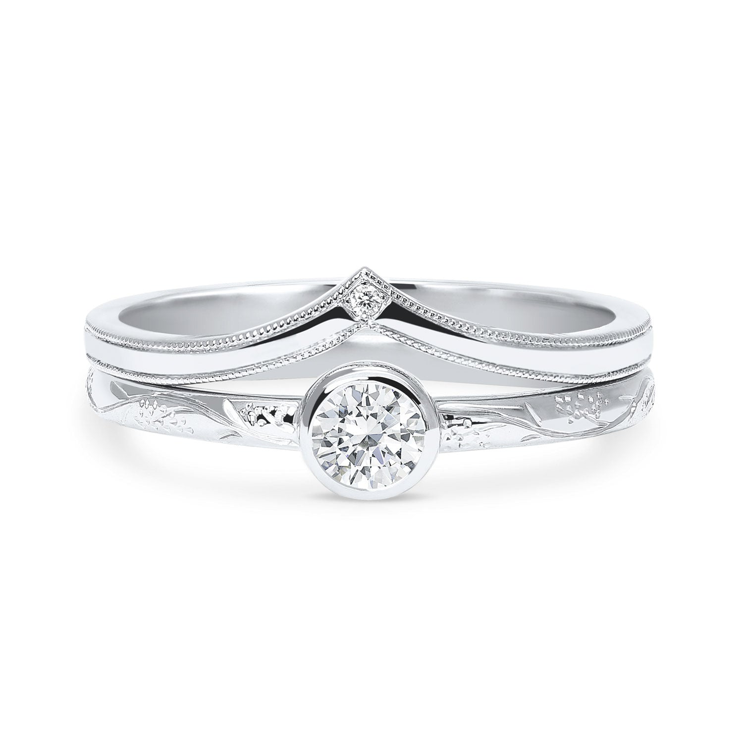 Bespoke engagement ring and wedding ring set, 100% recycled platinum and conflict-free diamonds