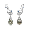 The Birth of Venus: One-of-a-kind earrings with black Tahitian pearls, ethical blue sapphires and ethical white gold
