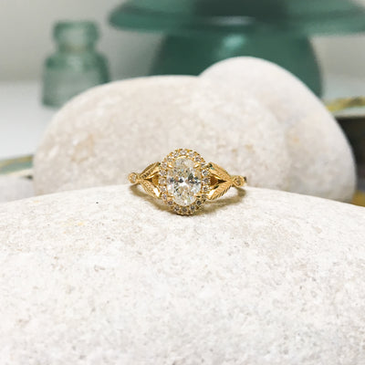 Bespoke Nature-Inspired Engagement Ring, Fairtrade yellow gold and a Canada Mark oval diamond 5