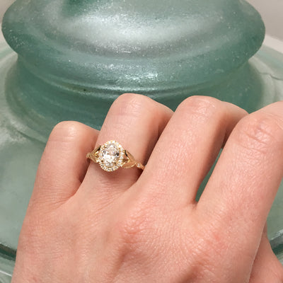 Bespoke Nature-Inspired Engagement Ring, Fairtrade yellow gold and a Canada Mark oval diamond 6