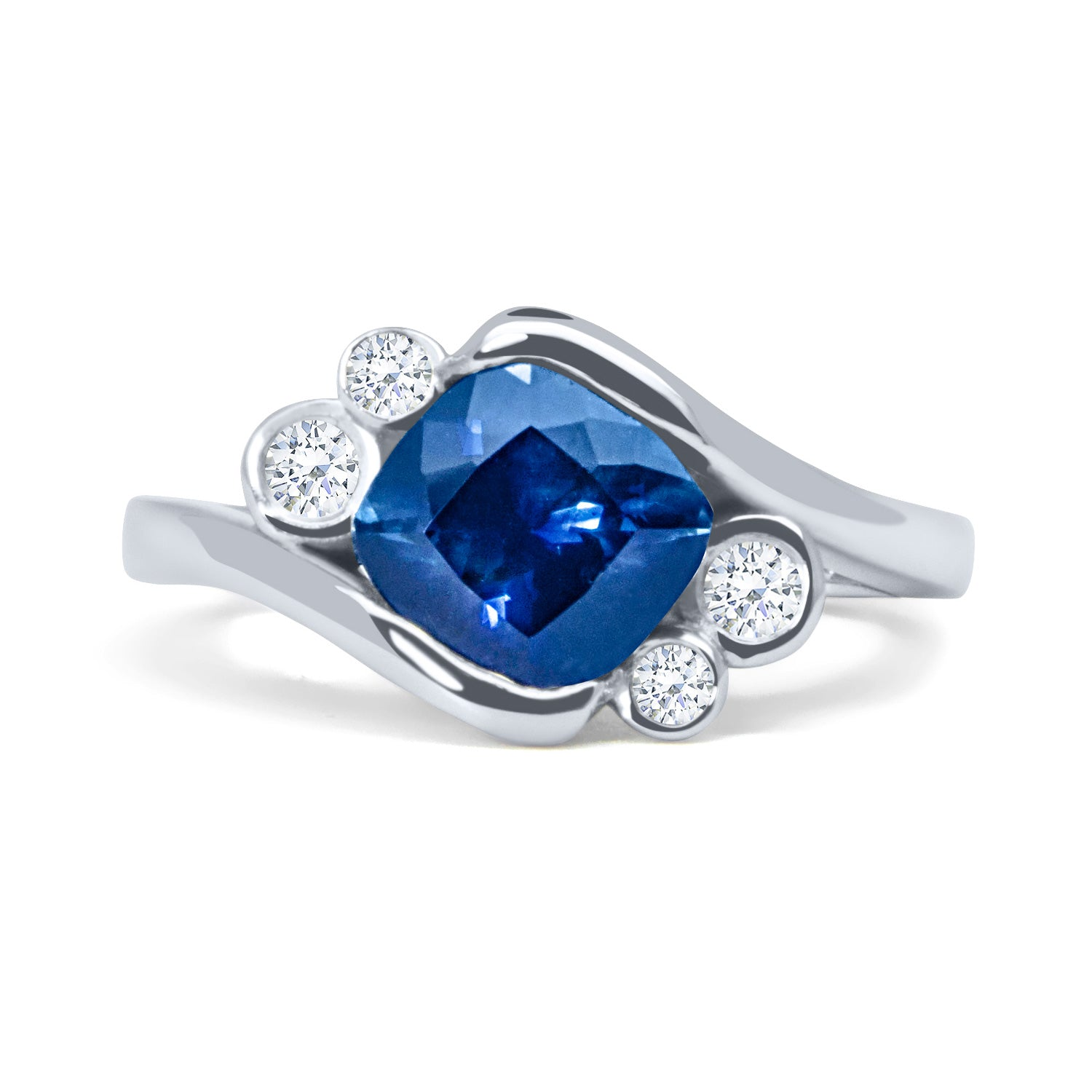Bespoke Jonno engagement ring - cushion-cut 1.8ct Malawi sapphire, conflict-free diamonds and 100% recycled platinum band