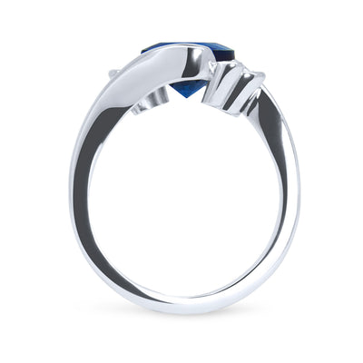 Bespoke Jonno engagement ring - cushion-cut 1.8ct Malawi sapphire, conflict-free diamonds and 100% recycled platinum band 2