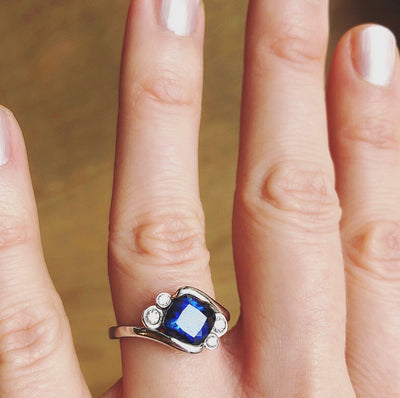 Bespoke Jonno engagement ring - cushion-cut 1.8ct Malawi sapphire, conflict-free diamonds and 100% recycled platinum band 4