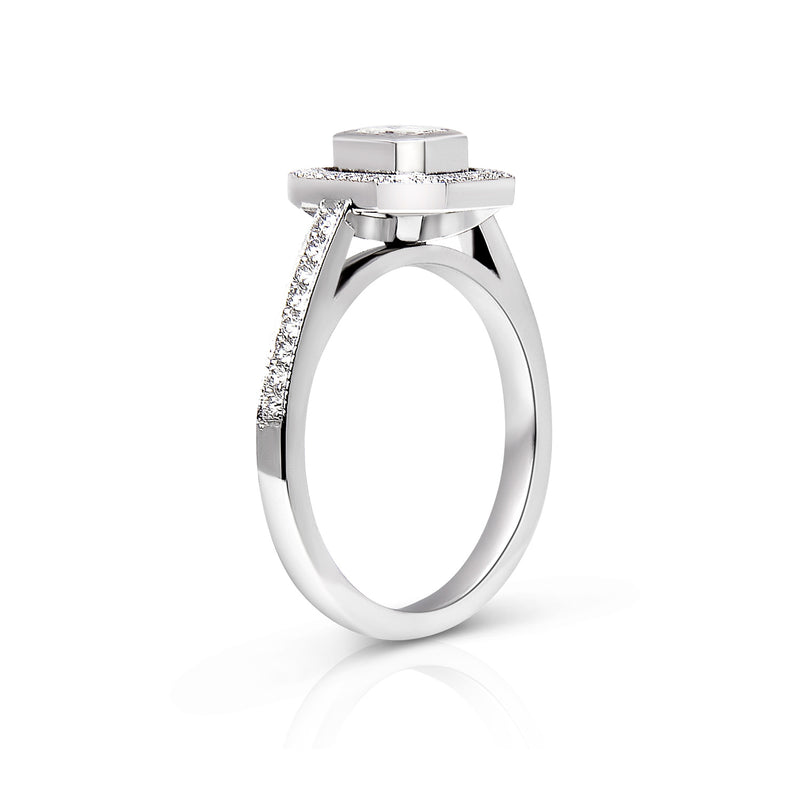 Bespoke Jorge Art Deco-inspired engagement ring - 100% recycled platinum and emerald-cut conflict-free diamond