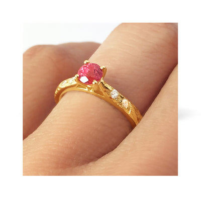 Bespoke Katy engagement ring - ruby Athena with diamond-set shoulders 2