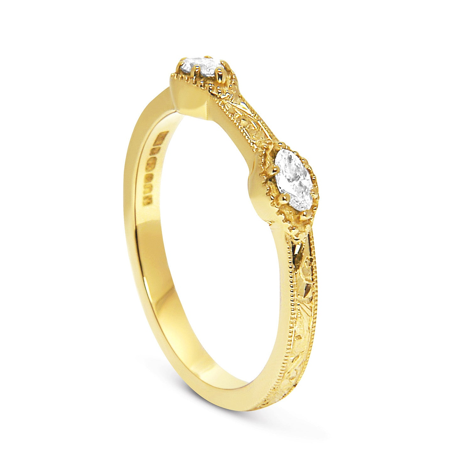 Bespoke Laura wedding ring - Fairtrade Gold, marquise diamonds, milgrain and scrolls