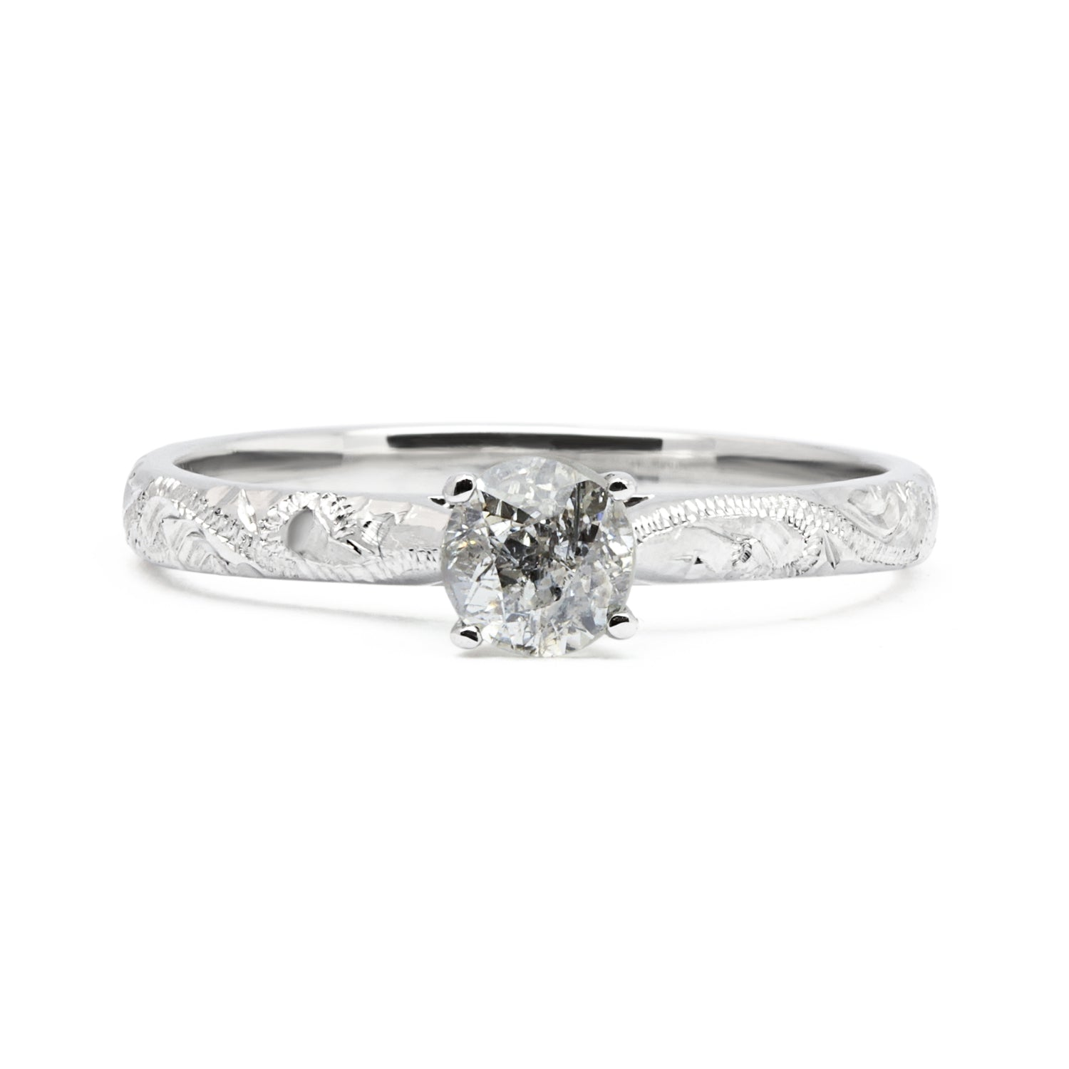 Lebrusan Studio Athena engagement ring with salt and pepper diamond and recycled white gold