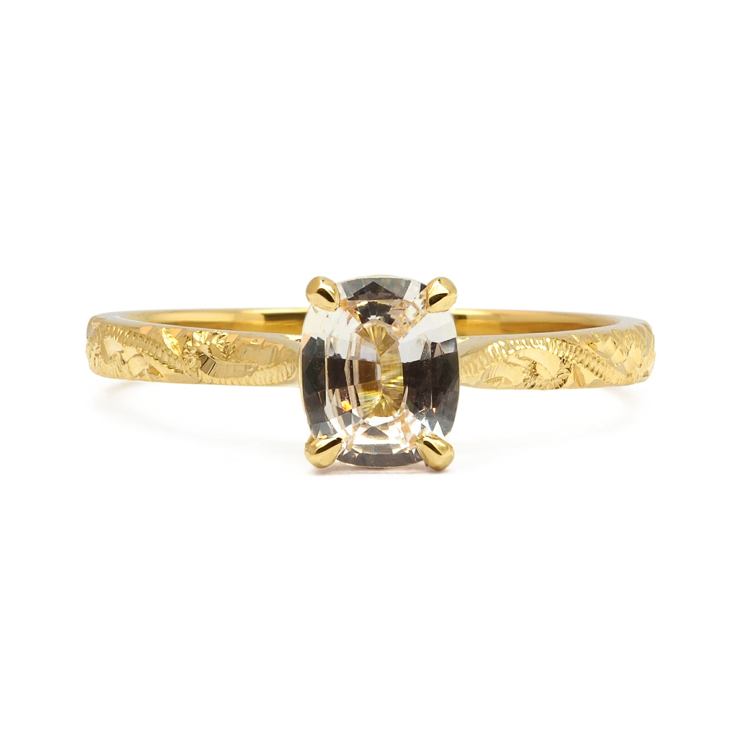 Fancy Athena Champagne Sapphire Engagement, Recycled Yellow Gold