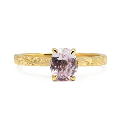 Fancy Athena Pink Sapphire Engagement, Recycled Yellow Gold