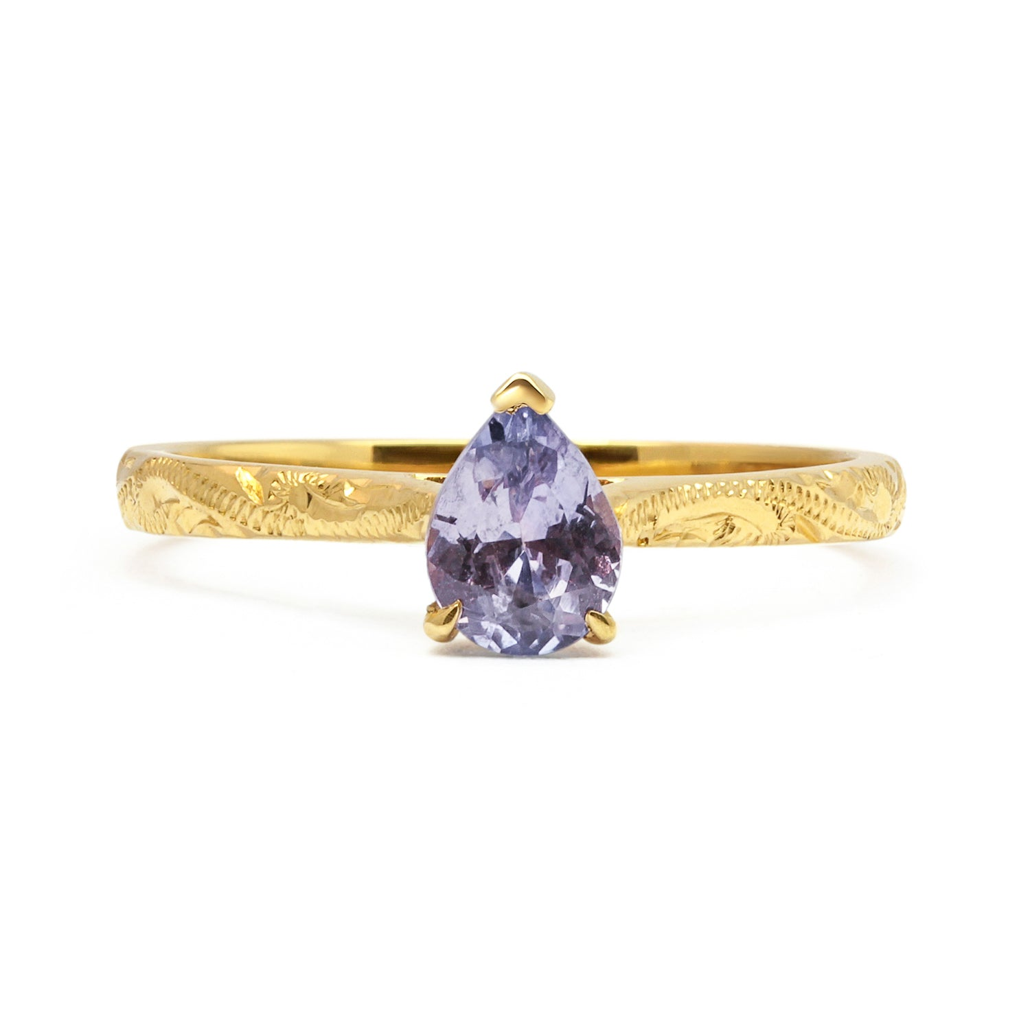 Fancy Athena Mauve Sapphire Engagement, Recycled Yellow Gold