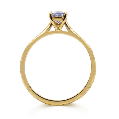 Fancy Athena Mauve Sapphire Engagement, Recycled Yellow Gold 2